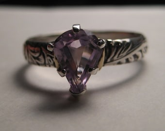 Beautiful faceted Amethyst gemstone Ring ... Sterling Silver and 14 kt Gold ... Size 9      ........................e440
