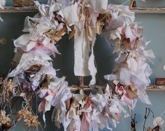 Dusks Glow - Abandoned Vintage Burlap, Lace and Fabric Rag Shabby Chic Wreath