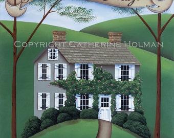 Folk Art Print Beekeeper's Cottage