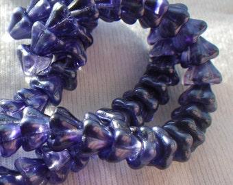 Royal Purple Bellflower Glass Beads 8X6mm 25 Pcs