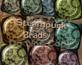 INSTANT DOWNLOAD Steampunk Brads Gears and Cogs Grunge Digital Charm Embellishments No.1 Buy 1 Get 1 Free