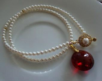 Pearls Red Topaz Choker