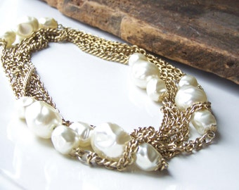 REDUCED Vintage Necklace, Double Strand Necklace, Faux Pearl Necklace, Opera Length Necklace, Bridal Necklace, Etsy Vintage, Etsy Jewelry