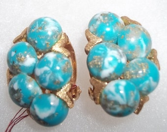 Glamour Girl Vintage Earrings with Turquoise Colored Stones