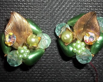 BEAUJEWELS Vintage Shades of Green COLLAGE Earrings - Fit for a Princess