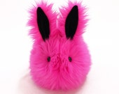 Cute Stuffed Easter Bunny Stuffed Animal  Plush Toy Kawaii Plushie Fuchsia the Hot Pink Easter Bunny Snuggly Toy Rabbit Large 6x10 Inches