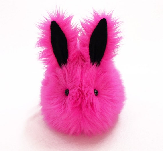 Easter Bunny Cute Stuffed Animal  Plush Toy Kawaii Plushie Fuchsia the Hot Pink Bunny Snuggly Toy Rabbit Large 6x10 Inches