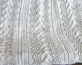 Hand knitted lap robe braided cable throw 3 panel aran color 38x48