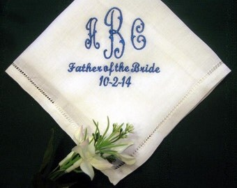 Mens Monogrammed Linen Wedding Handkerchief 147S includes shipping in the US and gift box