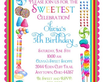 Candy Birthday Invitations, Candy Sprinkle, Sweet Shoppe,  Sweet shop, BIrthday, Children, Girls