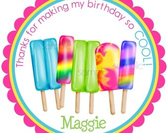 Ice Pops Stickers,  Birthday party,  Labels, seals, favor stickers, gift stickers, Set of 12