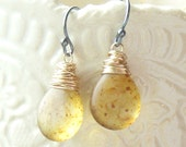 Czech Glass Golden Amber Drops - Mixed Metal Dangles