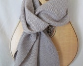 Grey and Seashell Pink Handwoven Scarf, Elaborate Diamond Pattern in Silk and Cashmere, Mother's Day