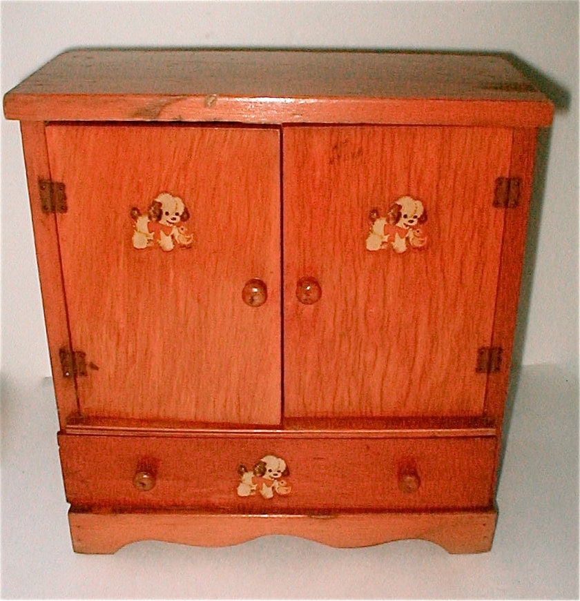 Early 50s Wood Doll Wardrobe Closet For Clothes Dog And