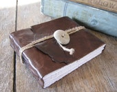 Leather Journal / Sketchbook / Guestbook . Rustic, Small & Chunky . handmade handbound . beach stone button (320 pgs)