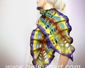 Felted Scarf Wool Silk Art Galaxy hand dyed shredded scarf Brown Purple Yellow Teal