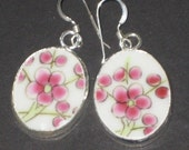 Sakura - Cherry Blossom - Chinese Pottery Shard Earrings on Sterling Silver earwires