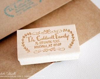 Family Custom Hand Drawn 1 x 2 inch Rubber Address Stamp with Decorative Border