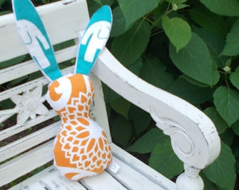 Turquoise and Orange Bits The Bunny Plush Rattle