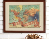Vintage Map Wall Art, Bon Voyage, Lithograph
