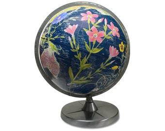 Vintage Globe Art, Flower Power, Black World Globe Art, Floral Globe
