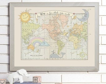 Vintage Map Wall Art, Baby, Alphabet, Lithograph