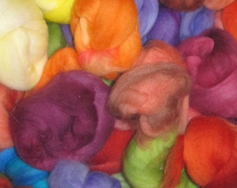 SALE   SUPERFINE Hand-dyed multi-packs of feltable Merino roving curls, 4 ounces Brights