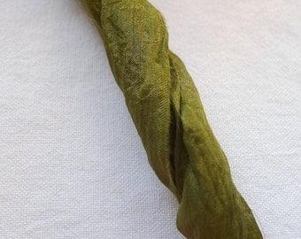 Loose Silk Cord Fabric Strip, Olive Green