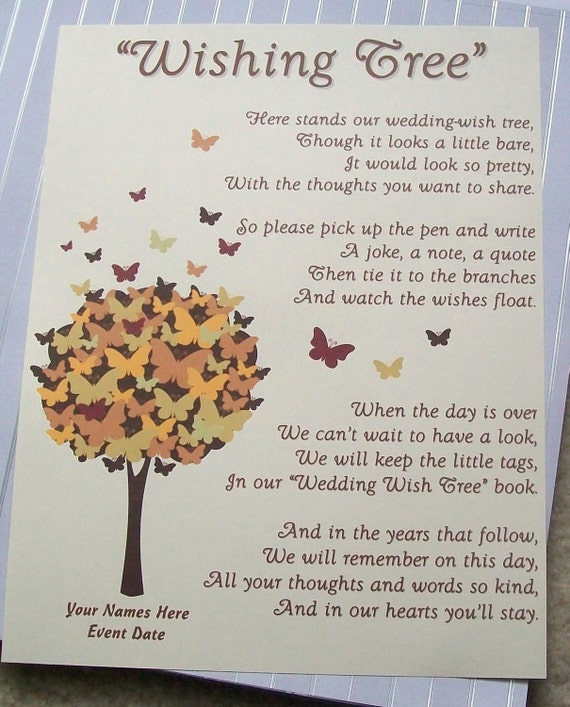 Wishing Tree Tags Instructions Sign Butterfly In