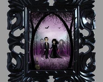 Gothic Romance Surreal Art Digital Painting -- Soul Mates - Gothic Wedding - Dark Valentine