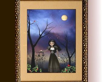 Zodiac Girl Art Goth Girl Art Print ---  LIBRA - Choose a size