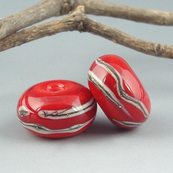 Handmade Lampwork Glass Beads - Tomato Red