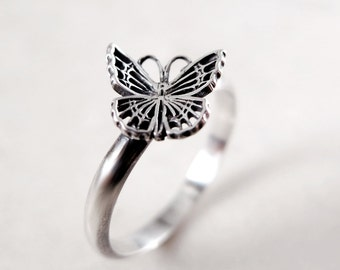 Butterfly ring, Sterling Silver, stacking, oxidized, Nature inspired jewelry