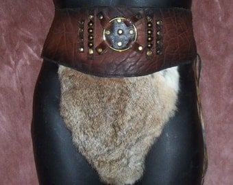 Authentic Gladiator War Skirt COMICON Leather Steampunk Cos Play Loincloth CONAN the BARBARIAN Renaissance Goth Handmade by Debbie Leather