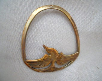 Vintage Oxidized Brass Bird Pendant Finding
