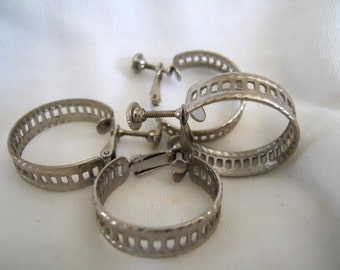 Vintage Industrial Silver Clip Hoops Earrings