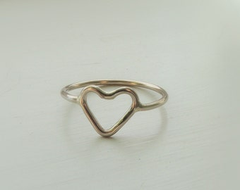 Gold Heart Ring - White Gold Jewelry - Gift for her bridesmaid
