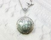 Silver Locket Necklace - Silver Globe ONE WORLD LOCKET - Jewelry by BirdzNbeez - Wedding Teacher Graduation Bridesmaids