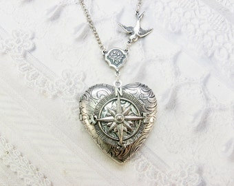 Silver Locket  - Heart Locket - The ORIGINAL Follow Your Heart COMPASS - Valentine's Day Wedding Birthday Bridesmaid Gift