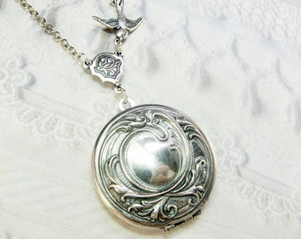 Silver Locket Necklace - Silver Love Locket - Jewelry by BirdzNbeez - Valentine's Day Wedding Birthday Gift