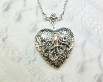 Silver Locket Necklace- The ORIGINAL Silver OCTOPUS LOCKET Heart Locket by BirdzNbeez - Birthday Friend Sister Gift