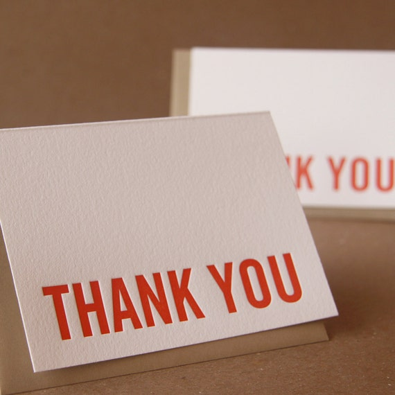 Letterpress Thank You Cards : Fire Red Modern Block Thank You Notes - box of 25 small folded cards w envelope color choice