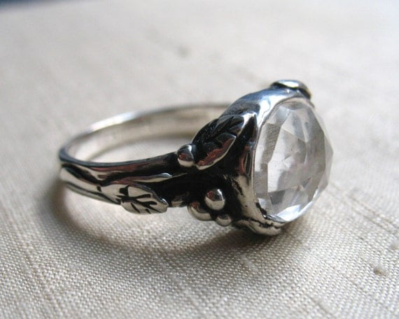 White Topaz and Sterling Woodland Vine Ring