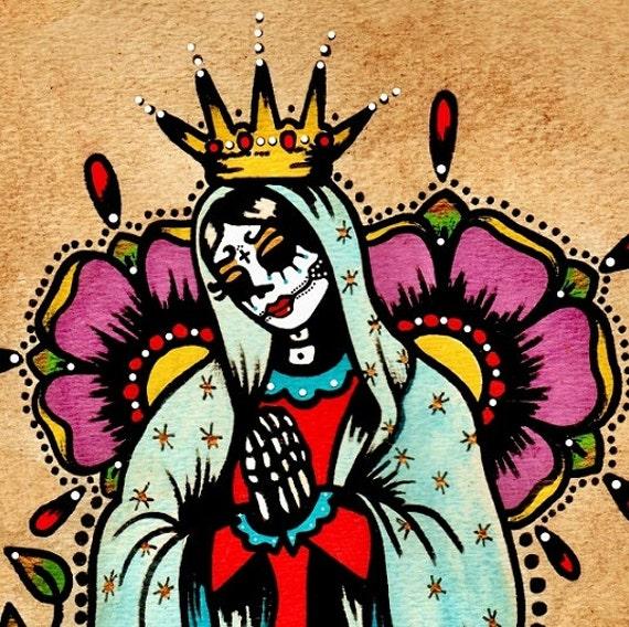Day of the dead virgen de guadalupe old school by for Old school day of the dead tattoo
