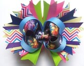 Rainbow Chevron Pony OTT stacked bow with spikes and base bow, boutique bow