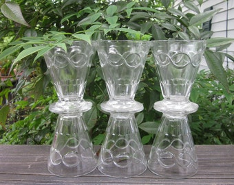 Six Vintage Dessert Dishes - Clear Glass Footed servers