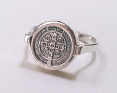 Petite St. Benedict  Religious Medal Cross Ring Sterling Silver