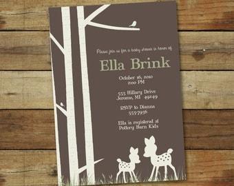 deer baby shower invitation, modern, gender neutral - oh deer