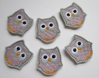 Lt Grey Felt with Pink Embroidered Owl Embellishments - 080
