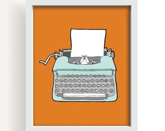 "drawing, vintage typewriter, typewriter, orange, large wall art, modern home decor, mid century modern, decor,  - ""Vintage Typewriter No. 4"""